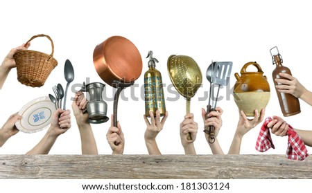 old kitchen utensils on white background  - stock photo