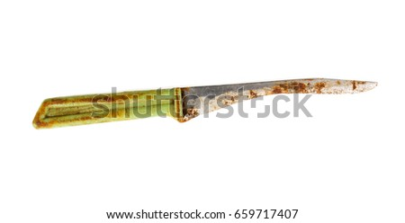 Old knife on a white background