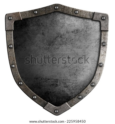 old knight's metal shield isolated on white - stock photo