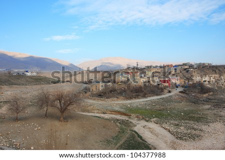 Old kurdish town Hasankeyf, South East of Turkey. - stock photo