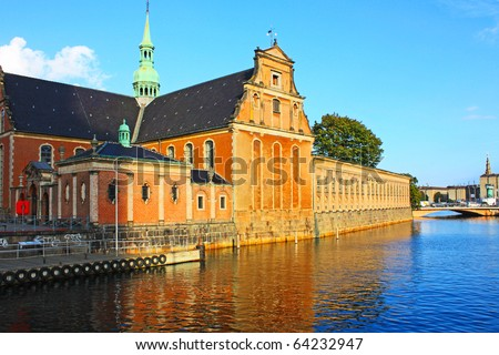Old l buildings and monuments in Copenhagen, Denmark - stock photo