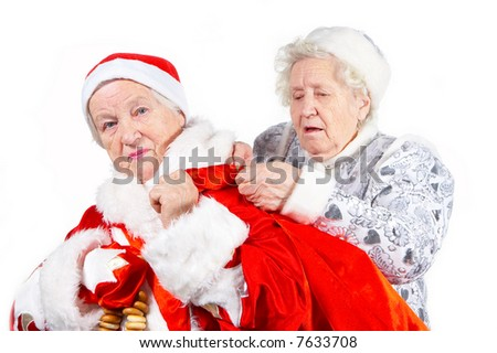 Old Ladies.  Snow Maiden helps Santa Clause  to  keep the bag with gifts