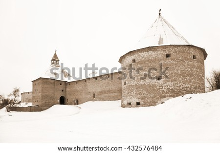 Old Ladoga fortress in the town of Staraya Ladoga on the Volkhov river, built during the reign of prophetic Oleg in the IX-X centuries by Prince Rurik.
