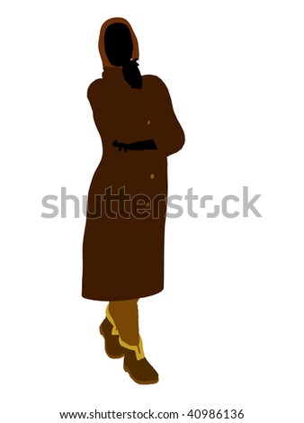 Old lady silhouette dressed in a trench coat on a white background