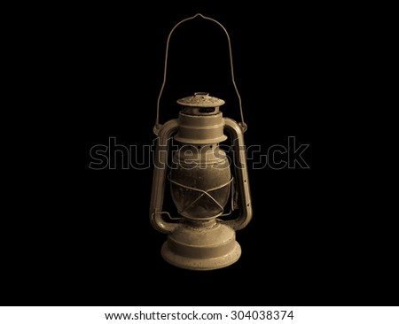 Old lamp isolated on black  background - stock photo