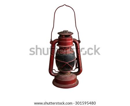 Old lamp isolated on white background,Pink - stock photo