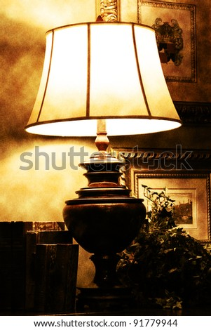 Old lamp with moody lights - stock photo