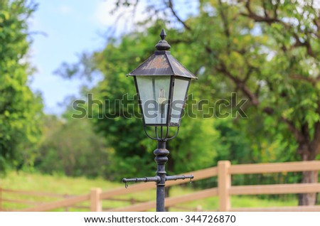 Old lantern in nature farm