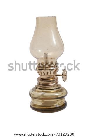 Old lantern isolated on white background. - stock photo