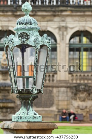 Old lantern on the Zwinger palace in Dresden, Germany.