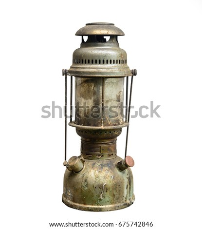 Old Lantern Or Old Lamp Isolated On White Background