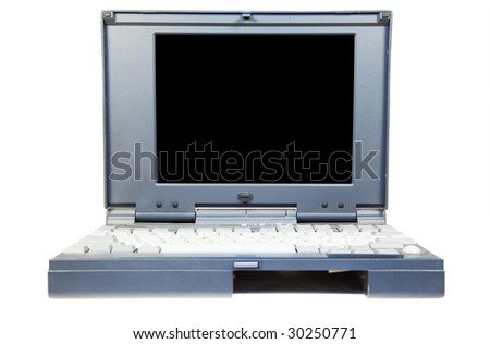 Old laptop on a white background