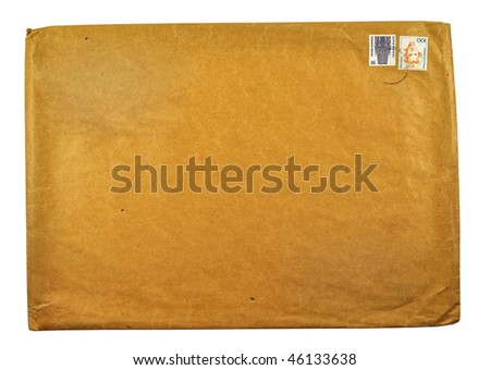 Old large envelope on a white background - stock photo