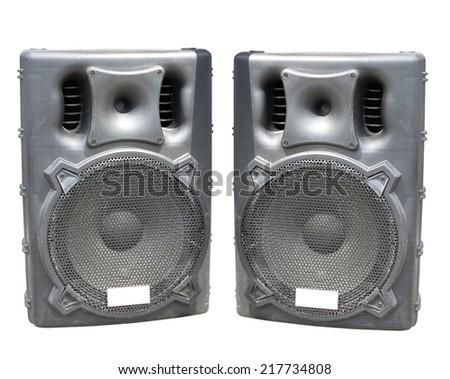 Old large powerful Audio Speakers Isolated on White Background - stock photo