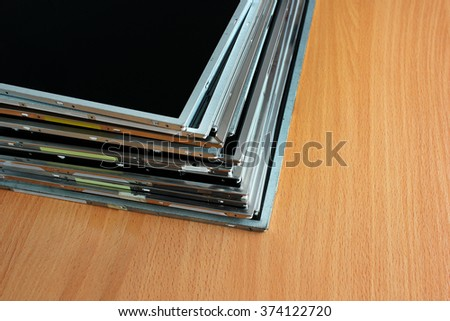 Old LCD and TFT display panels. Computer monitors parts - stock photo