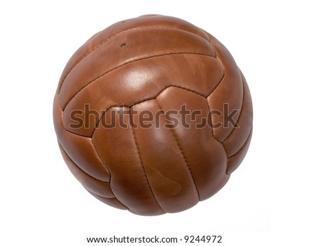 Old leather ball to play soccer.