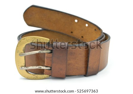 old leather belt on white background