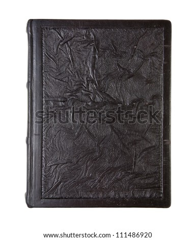 Old leather book, crumpled texture, isolated on white - stock photo