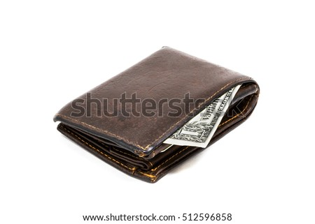Old leather brown wallet with one hundred dollar banknote isolated on white background