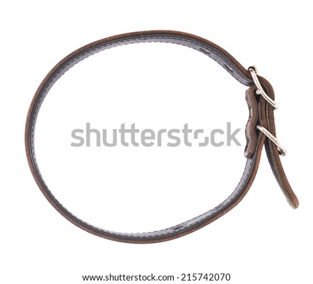 Old leather dog-collar isolated over the white background, top view above - stock photo