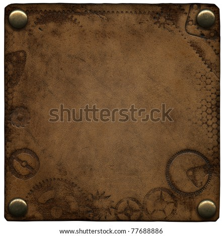 Old leather label on the rivets - stock photo