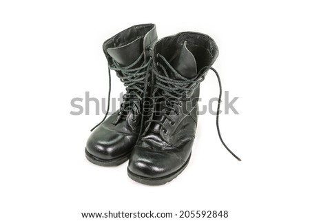 old leather military boots isolated on white background  - stock photo