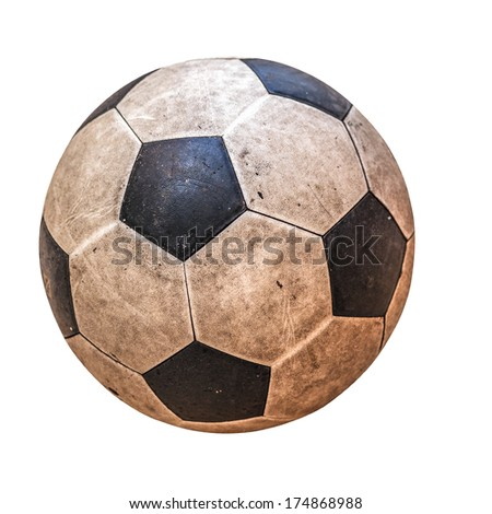 old leather soccer ball isolated on white - stock photo