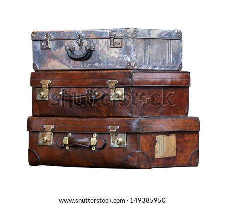 Old leather suitcases isolated with clipping path included