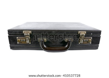 Old leather vintage briefcase with safety lock isolated on white background  - stock photo