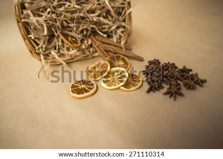 old lemon and cinnamon - stock photo