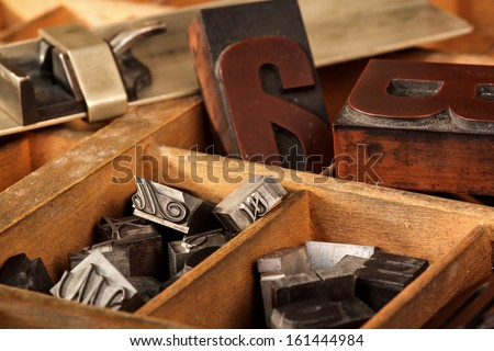 Old letter case with different types - stock photo