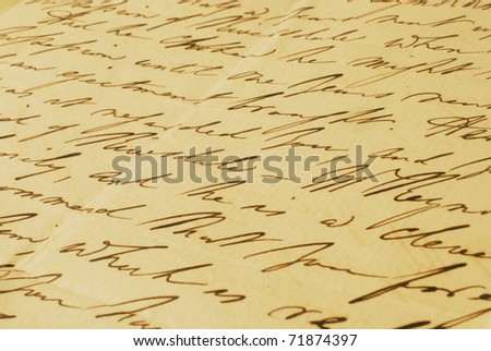Old letter elegant handwriting background - stock photo