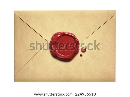 Old letter envelope with wax seal isolated on white - stock photo