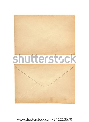 Old letter isolated on white background