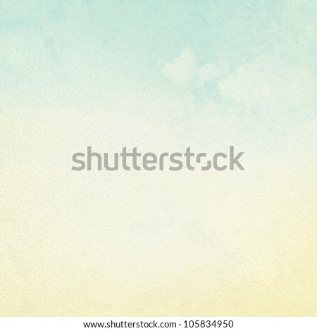 old letter paper with delicate leather texture and blue sky view - stock photo