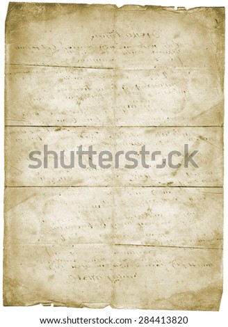 Old letter vintage grunge paper isolated on white background - stock photo