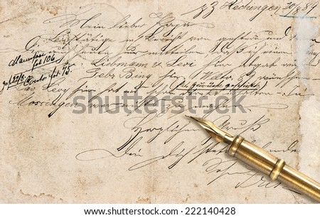 Old letter with calligraphic handwritten text and vintage ink pen. retro style background