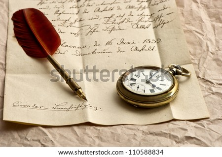 old letter with clock, feather quill and wax seal. vintage background. selective focus - stock photo