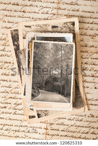 old letter with old photos - stock photo