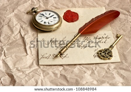 old letter with wax seal, vintage quill, clock and key - stock photo