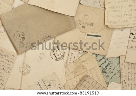 old letters and envelopes, old paper - stock photo