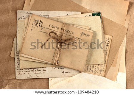 old letters and french post cards. vintage background - stock photo