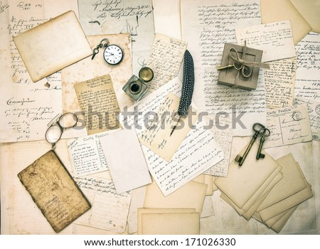 old letters and postcards, vintage accessory and antique book. retro style nostalgic background. top view - stock photo