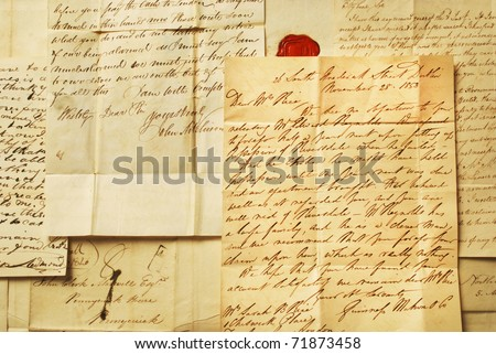 Old letters from 1800's, example of elegant handwriting landscape - stock photo