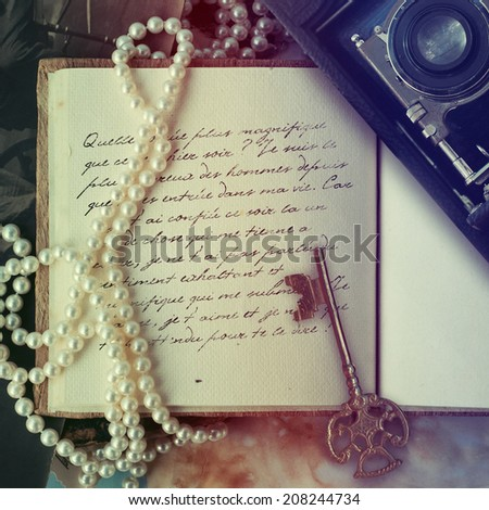 old letters in the Diary - stock photo