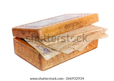 old letters in wooden box isolated on white - stock photo
