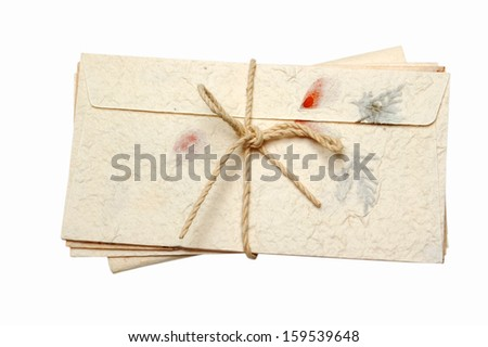 old letters on white background  - stock photo
