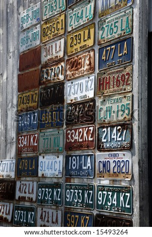 Old license plates - stock photo