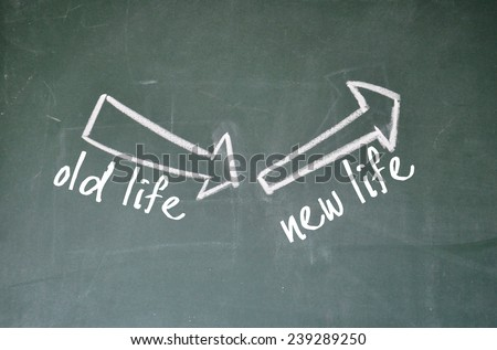 old life and new life sign on blackboard