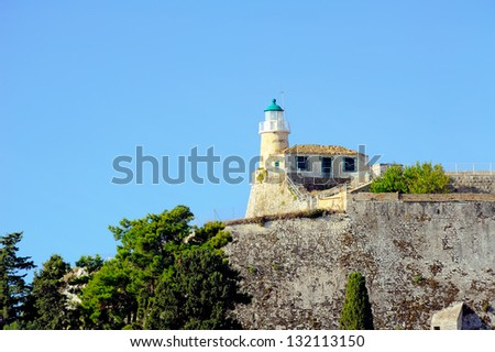 Old lighthouse at old fortress in the City of Kerkyra, Corfu, Greece